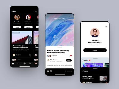 Feed App clean concept list story like card profil profile single article social ios app feed