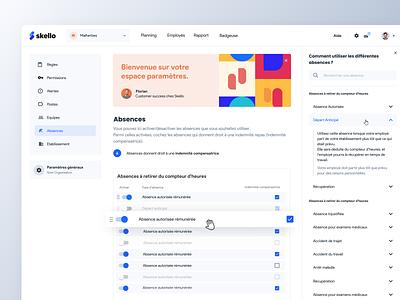 Skello settings 🛠 product saas skello minimal clean absence work users employee settings ui settings app