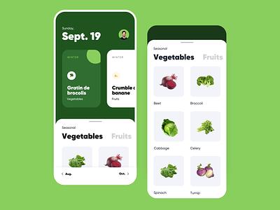 Seasonal Fruits and Vegetables 🥦🍊 season green minimal list food ios app vegetables fruits