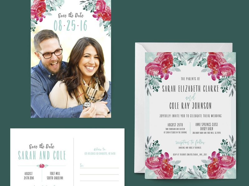 Floral Wedding Invitation invitations wedding suite mint pink floral save the date invitation wedding