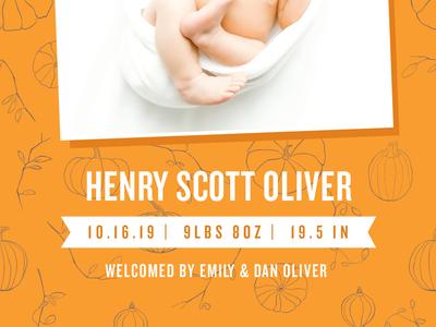 Pumpkin Themed Baby Announcement