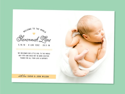 Simple Heart Baby Announcement