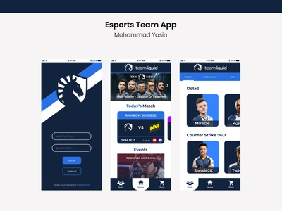 Esports Team App UI/UX Design design mobile ux ui
