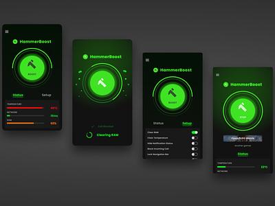 Game Booster UI Mobile Design website web app design ux ui mobile