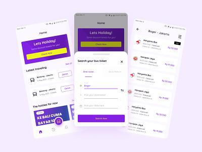 Booking Bus Ticket App flat minimal clean web website app mobile design ux ui