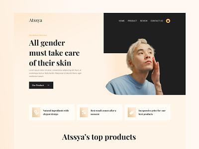 Skincare Website Hero Exploration gradient elegant men skincare skincare web website app mobile design ux ui