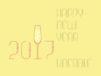 Happy New Year 2017 illustration type lettering