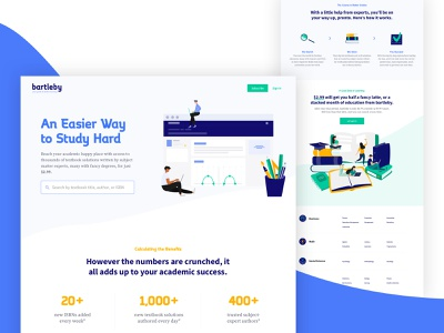 Bartleby Homepage illustrations web product ux ui design homepage marketing page marketing learning platform lms barnes and noble textbooks learning