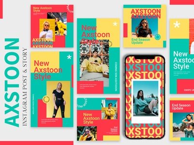 Axstoon - Instagram Templates stylish fashion beauty story instagram post instagram ui feed branding ux web design