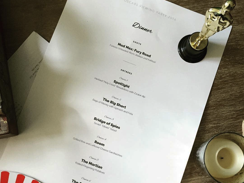 Oscars Dinner Menu typography print food menu awards academy oscars