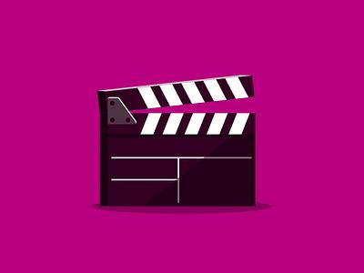 Clapperboard art icon flat design film vector 2d illustration