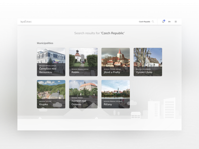 Lepsi Obec - Web App for Municipalities and it's Residents notifications cards profile profile page search search results public resident municipality city town ui illustration