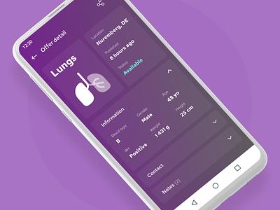 Foedus - Swift International Exchange of Transplant Organs purple ui design cards details detail contacts contact list exchange transplant organs mobile app mobile