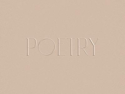 Poetry - Custom Typeface logo branding visual identity logo designer custom made timeless minimal logo custom logo minimal logo type typography