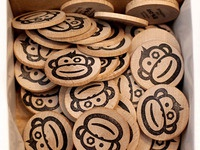 Hand stamped wooden tokens