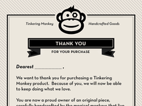 Tinkering Monkey Thank You Card