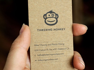 tinkering monkey business card 1 by paula chang dribbble