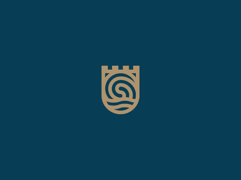 Swirly Whirly logo identity branding shield mark water castle
