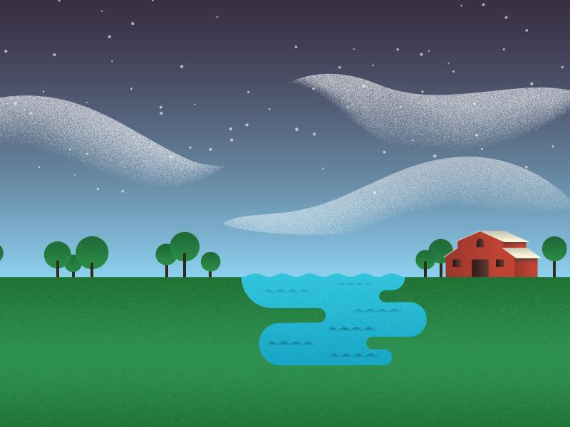 Farm illustration farm landscape building geometric