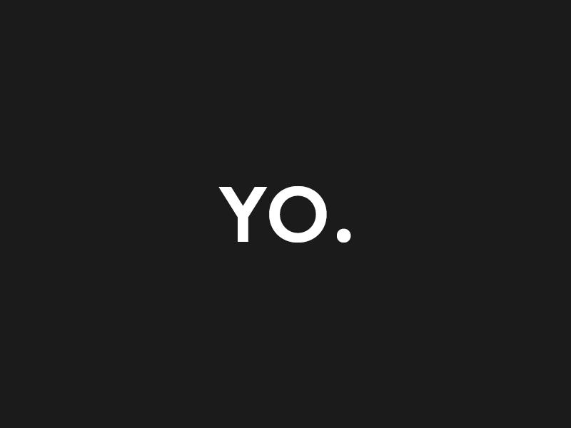 Yo. website portfolio work branding digital design typography black white bold minimal modern