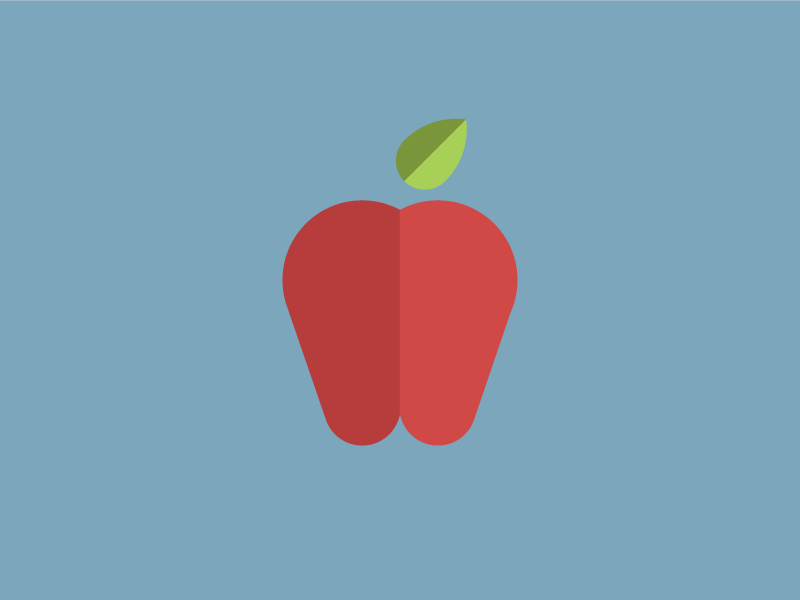 You're an apple, man. apple fruit education vector flat illustration red school knowledge learning yum food