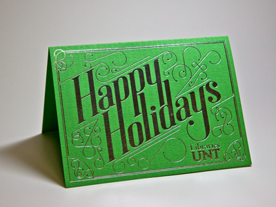 Libraries Holiday Card holiday card typography foil stamp lettering swash