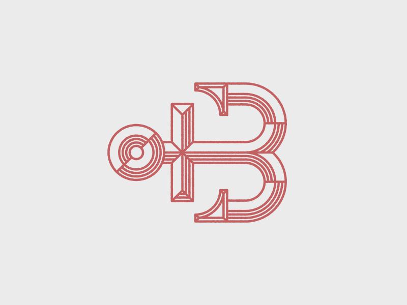 Ahoy matey anchor logo red nautical sea ship boat b letter branding