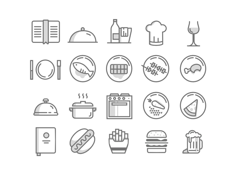 Food Icons plate fries cook menu wine burger restaurant food beer fish free icons