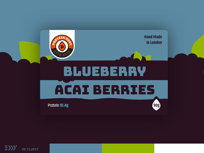 Blueberry & Acai Berries fitness healthy natural plant cake food acai blueberry sweets packaging eddy label