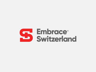 Embrace Switzerland Logo modern eddy embrace nature sport travel outdoor cross letter mark swiss logo