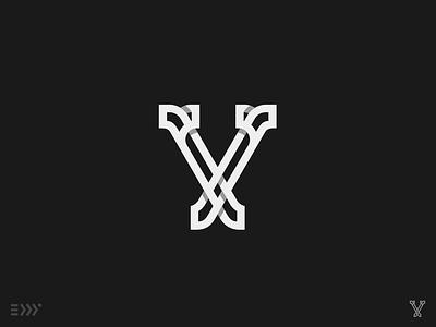 V Monogram modern eddy negative training practice shadow line v letter mark monogram logo