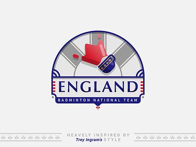 Bad Crest #1 - England badcrest london shuttle sport illustration badminton tea national country badge crest england