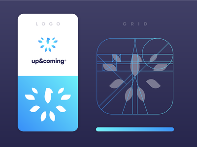 Up & Coming | Logo grid construction gradient football gaming esports vip management fire wings feather symbol grid eagle branding logo mark eddy