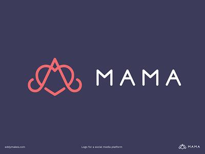 Logo Mama letter monogram social media vector design middleeast mother mom connect social branding logo mark eddy