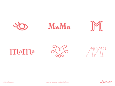 Logo Mama Drafts concepts middleeast letter monograms monogram kids parenting parent social mom mama eye mothers eddy branding mark logo brainstorming exploration drafts