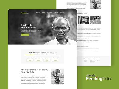 Zomato Feeding India - Website ui web website impact donation hunger food help daily wager support india lockdown covid19 coronavirus campaign zomato feeding india