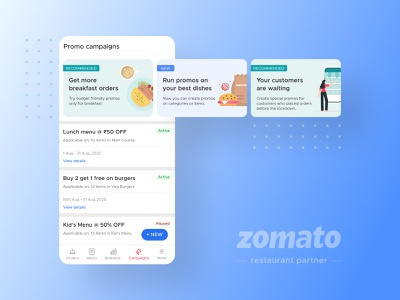 Promo Campaigns delivery food application mobile discounts ux ui merchant partners restaurant zomato illustration campaigns promotions