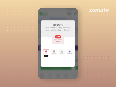 Medal Unlock Animation levels zomato improvement rating motion animations appreciation application android ux ui upgrade unlock performance program benefits incentives medal riders delivery