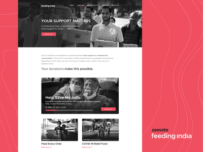 Zomato Feeding India - Campaigns covid19 coronavirus oxygen donation impact support pandemic help hunger social campaign indian ui website zomato feeding india essentials underserved food save