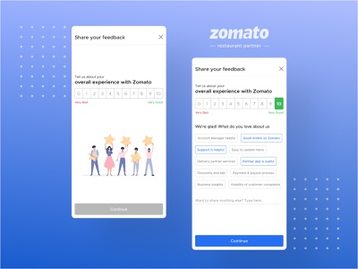 Net Promoter Score delivery promoter score nps merchant zomato ux ui illustration partners restaurant insights rating experience feedback