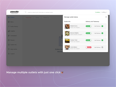 Restaurant Partner Dashboard tracking takeaway outlets search merchant seamless menu orders manage dashboard ux ui design partners restaurant delivery food zomato