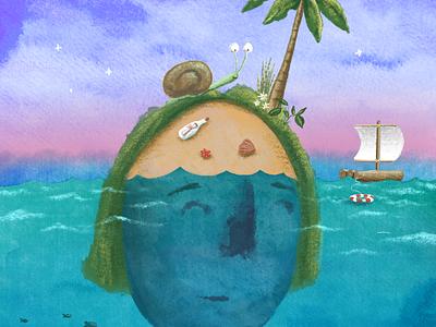 Find an island sea adrift ep illustration ocean island