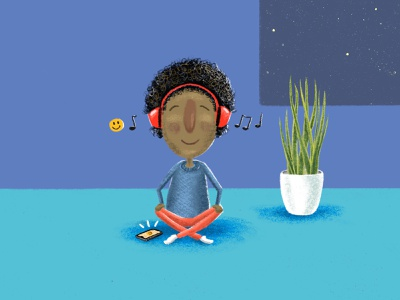 Meditation character digital drawing illustration