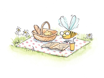 Bee Picnic colourcollective illustration drawing watercolour
