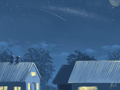 Wish upon a star digital drawing kidlitart illustration