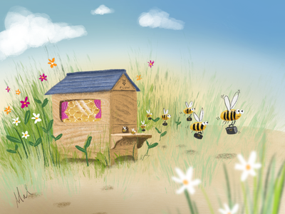 Off to work illustration bees drawing