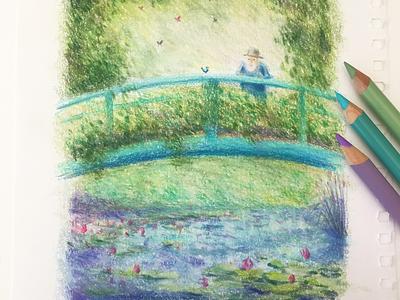 Monet's Garden garden france monet pencil drawing sketchbook pencilsketch derwent prismacolor impressionism kidlitart illustration monetsgarden claudemonet