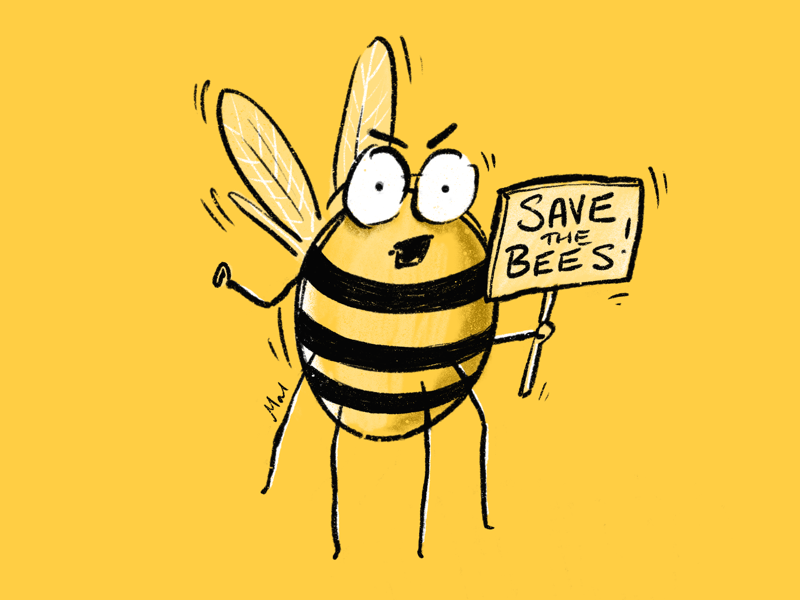Save the bees colour collective kidlit protest bushfires climate crisis bee climate change illustration