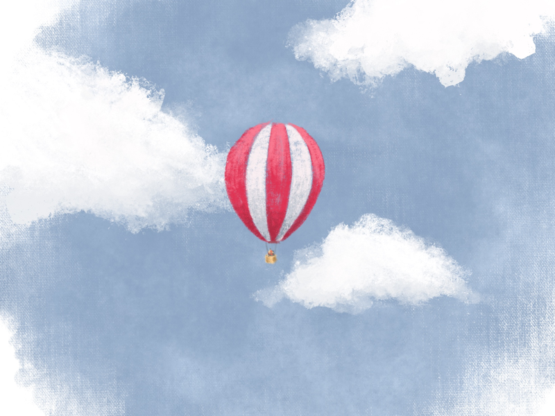 Drifting hot air balloon illustration wedgewood blue colour collective