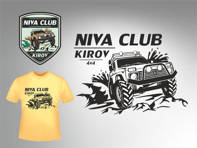 NIVA CLUB LOGO нива брендинг. визуальная идентификация автомобиль клуб векторная графика внедорожник logo брендирование брендинг vector design логотип illustration